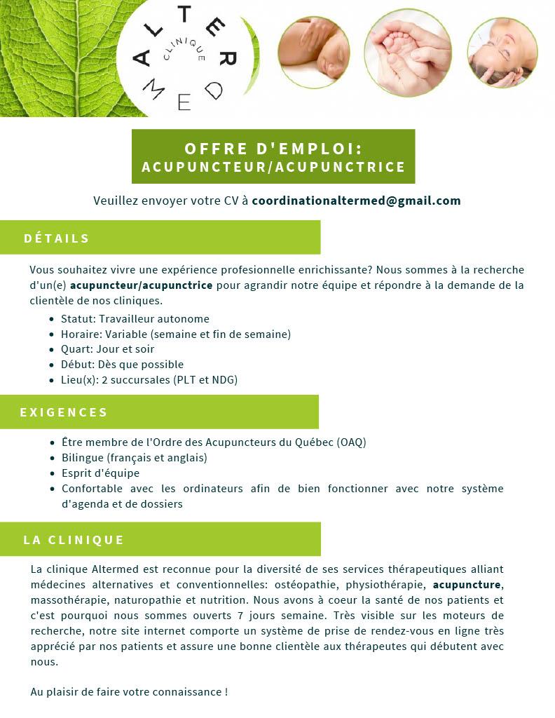 offre acupuncture montréal